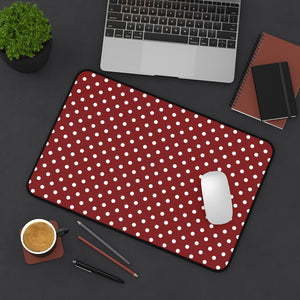 Red and White Polkadot Desk Mat Keyboard Pad
