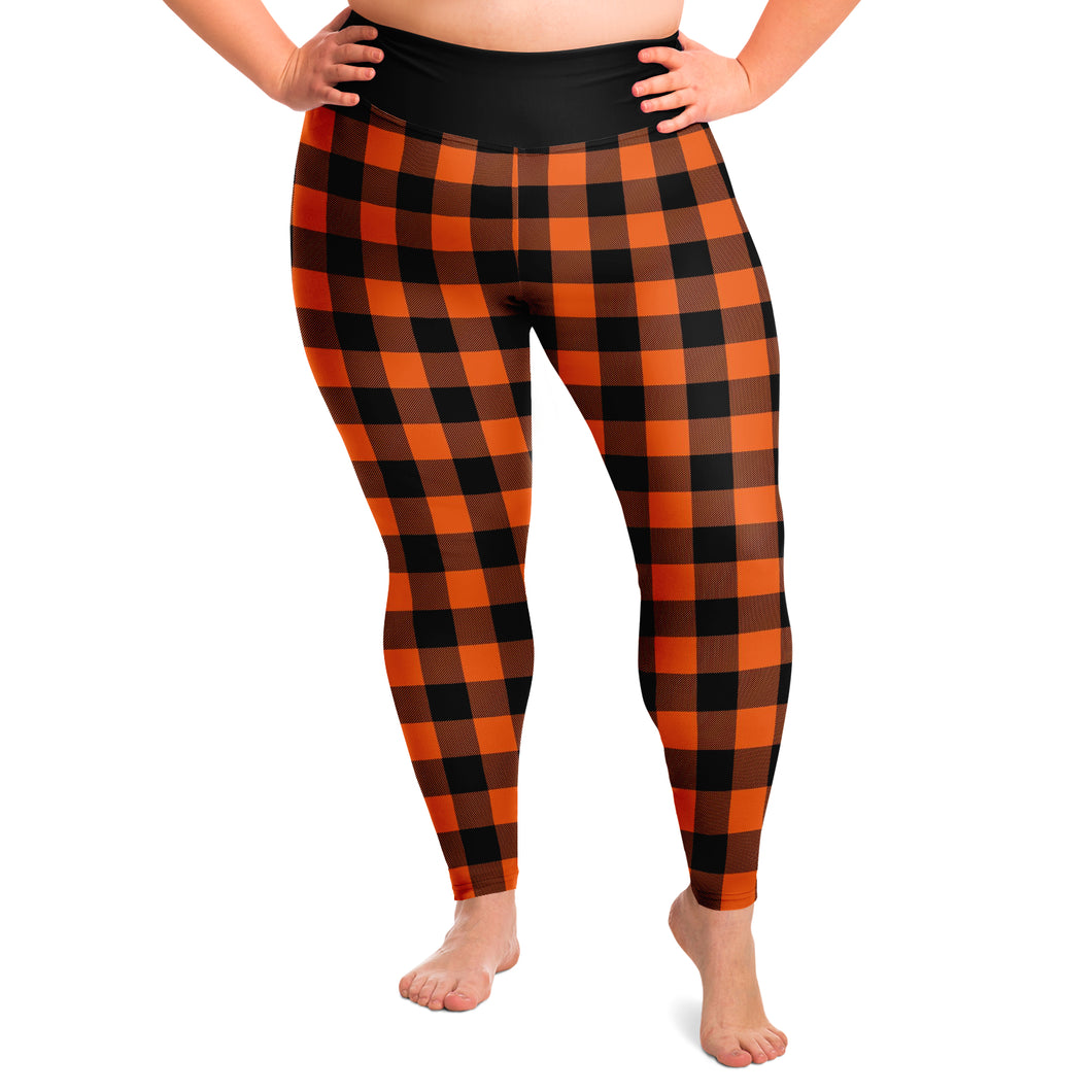 Buffalo Plaid In Orange and Black Plus Size Leggings 2X - 6X Squat Proof