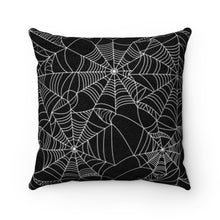 Load image into Gallery viewer, Spiderweb Black and White Faux Suede Square Pillow Case