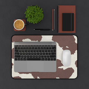 Dark Brown Cow Hide Print Black and White Desk Mat Keyboard Pad