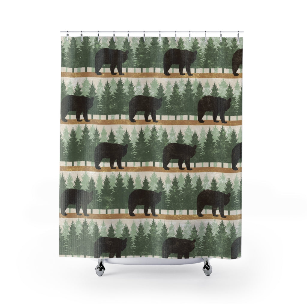 Bears With Pine Trees Shower Curtain