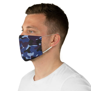 Blue, Purple and Black Camo Printed Cloth Fabric Face Mask Colorful Camouflage