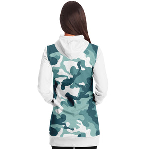 White and Minty Teal Camouflage Pattern Longline Hoodie Dress With Solid White Sleeves, Pocket and Hood