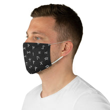 Load image into Gallery viewer, Black With White Runes Fabric Face Mask Printed Cloth