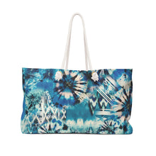 Load image into Gallery viewer, Blue and Green Tie Dye Style Pattern Boho Weekender Bag For Shopping, Traveling, Oversized Tote With Rope Handles