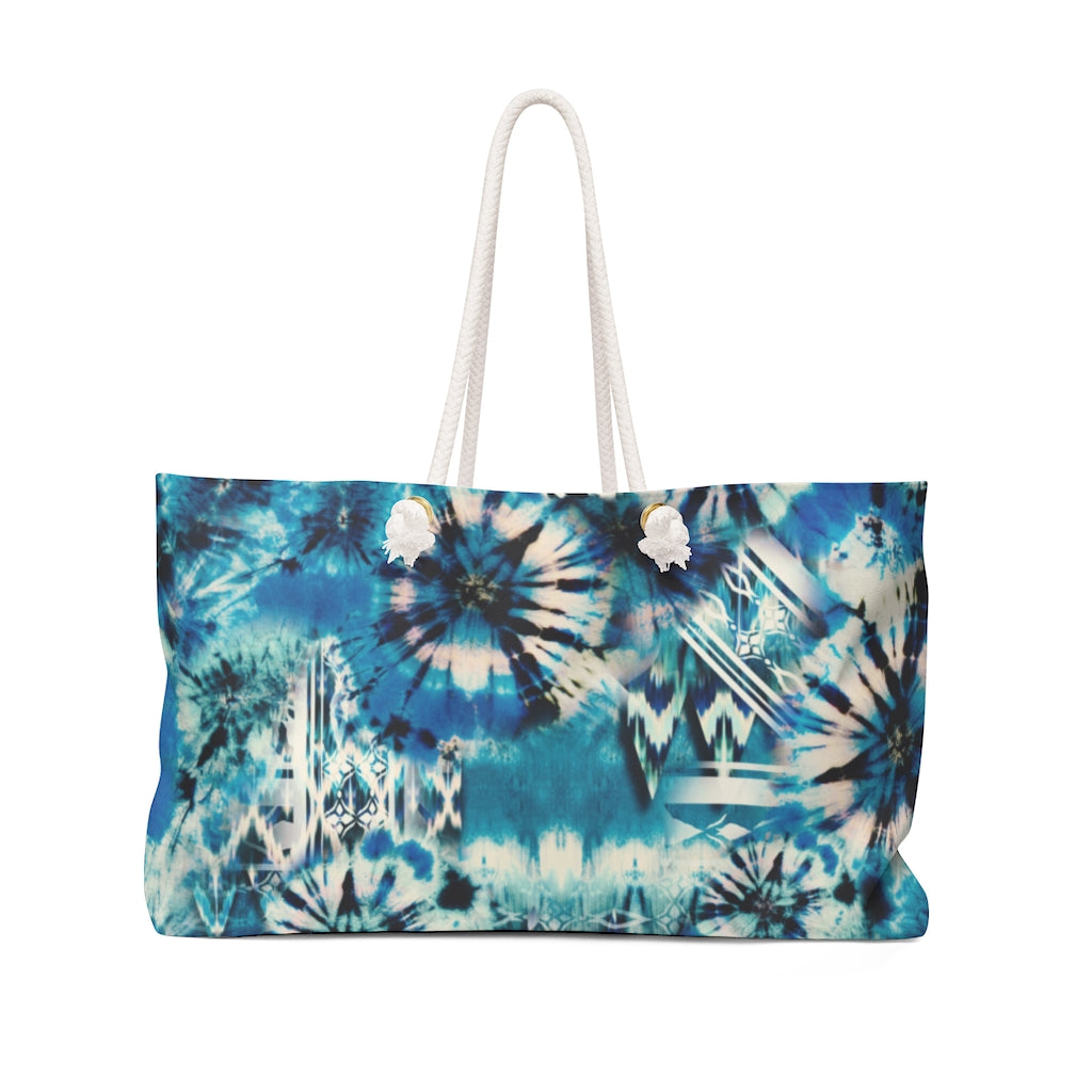 Blue and Green Tie Dye Style Pattern Boho Weekender Bag For Shopping, Traveling, Oversized Tote With Rope Handles
