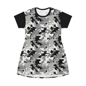 Camo T-Shirt Dress Black White and Gray Snow Camouflage Pattern Tunic Length
