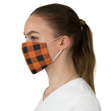 Load image into Gallery viewer, Orange and Black Buffalo Plaid Printed Cloth Fabric Face Mask Country Buffalo Check Farmhouse Pattern