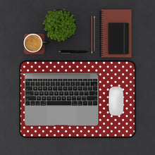 Load image into Gallery viewer, Red and White Polkadot Desk Mat Keyboard Pad