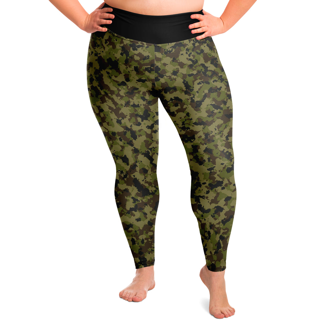 Camouflage Plus Size Leggings Sizes 2X - 6X Traditional Colors Green, Brown, Black