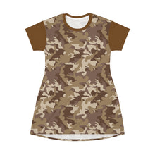 Load image into Gallery viewer, Camo T-Shirt Dress Brown and Tan Desert Camouflage Pattern Tunic Length