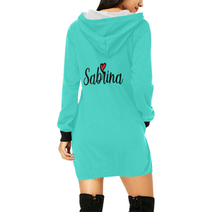 sabrina All Over Print Hoodie Mini Dress (Model H27)