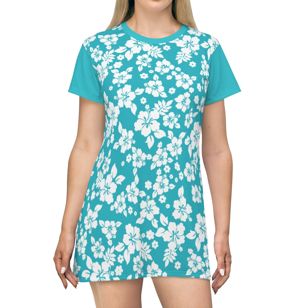 Teal and White Hibiscus Pattern T-Shirt Dress