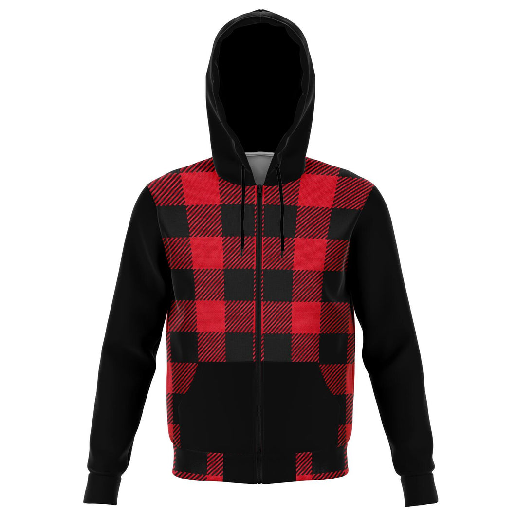 Buffalo Plaid and Black Cotton Polyester Blend Zip Hoodie