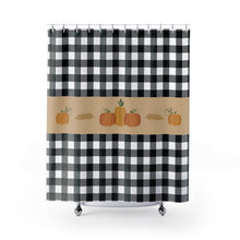 Load image into Gallery viewer, Black and White Buffalo Plaid Pattern Shower Curtain With Fall Pumpkin Design Rustic Home Decor