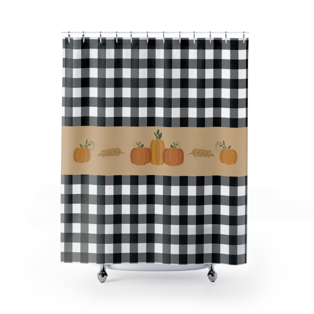 Black and White Buffalo Plaid Pattern Shower Curtain With Fall Pumpkin Design Rustic Home Decor