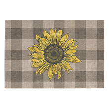 Load image into Gallery viewer, Rustic Burlap Style Buffalo Plaid With Sunflower on Tempered Glass Cutting Board Farmhouse Kitchen Decor