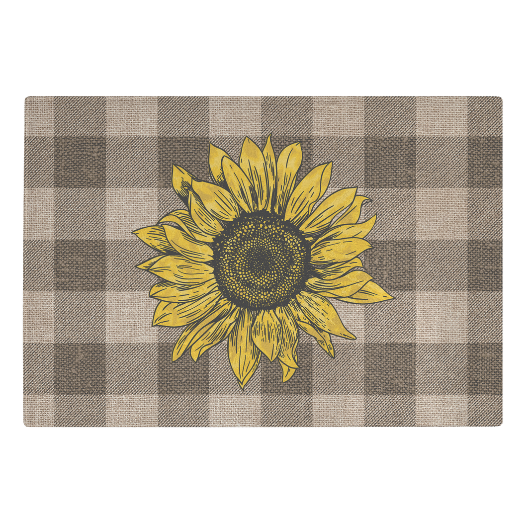 Rustic Burlap Style Buffalo Plaid With Sunflower on Tempered Glass Cutting Board Farmhouse Kitchen Decor