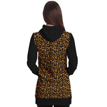 Load image into Gallery viewer, Leopard Print Longline Hoodie Dress With Contrast Black Sleeves, Pocket and Hood