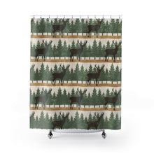 Load image into Gallery viewer, Stag With Pine Trees Shower Curtain