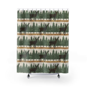 Stag With Pine Trees Shower Curtain