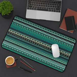 Turquoise, Tan and Black Ethnic Pattern Desk Mat Large