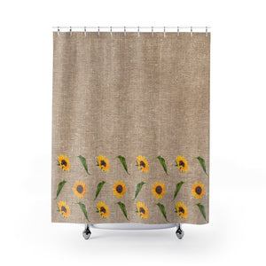 Rustic Brown Faux Burlap Buffalo Plaid With Sunflowers and Leaves Pattern Shower Curtain Rustic Fall Home Decor