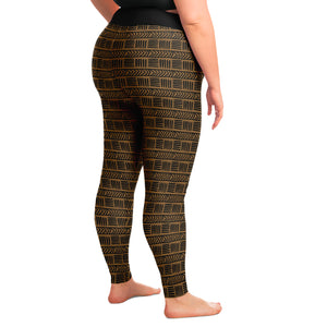 Brown and Black Ethnic Pattern Plus Size Leggings 2X-6X Squat Proof