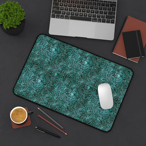 Dusky Turquoise Tooled Leather Style Pattern Desk Mat