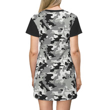Load image into Gallery viewer, Camo T-Shirt Dress Black White and Gray Snow Camouflage Pattern Tunic Length
