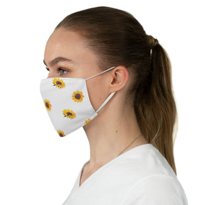 White With Sunflower Pattern Printed Cloth Fabric Face Mask Farmhouse Country