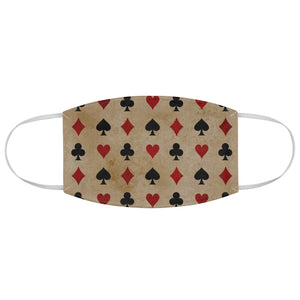 Tan With Red and Black Paying Card Suits Pattern Fabric Face Mask Printed Cloth Gambling Poker