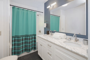 Turquoise With Plaid Contrast Color Block Shower Curtain