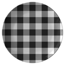 Load image into Gallery viewer, Black and White Buffalo Plaid Farmhouse ThermoSāf® Dinner Plate