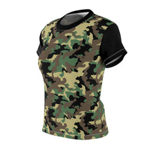 Load image into Gallery viewer, Camo Pattern Women's Tee Green, Brown and Black Camouflage With Contrast Sleeves