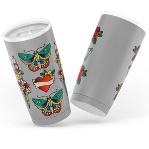 Tattoo Traditional Pattern Gray Tumbler Old School Vintage Style Insulted Mug