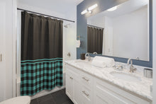 Load image into Gallery viewer, Turquoise Buffalo Plaid and Black Contrast Color Block Shower Curtain