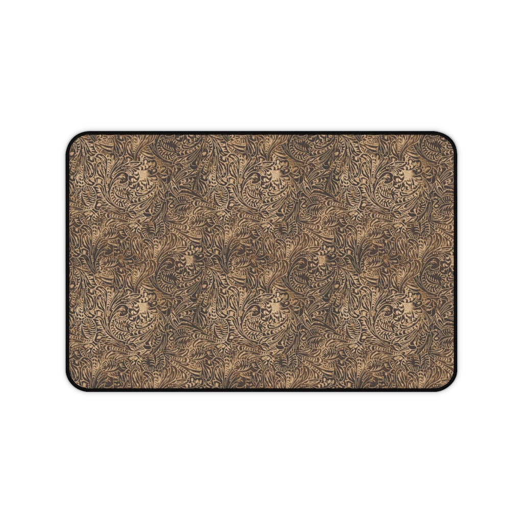 Dusky Brown Tooled Leather Style Pattern Desk Mat