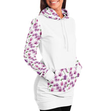 Load image into Gallery viewer, White Longline Hoodie Dress With Pink Orchid Flower Pattern Sleeves, Hood and Pocket