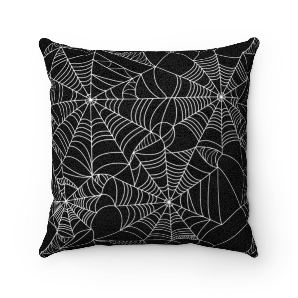Spiderweb Black and White Faux Suede Square Pillow Case