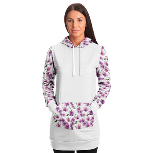 White Longline Hoodie Dress With Pink Orchid Flower Pattern Sleeves, Hood and Pocket