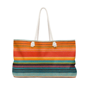 Mexican Serape Style Colorful Pattern Weekender Bag Beach Bag With Rope Handles
