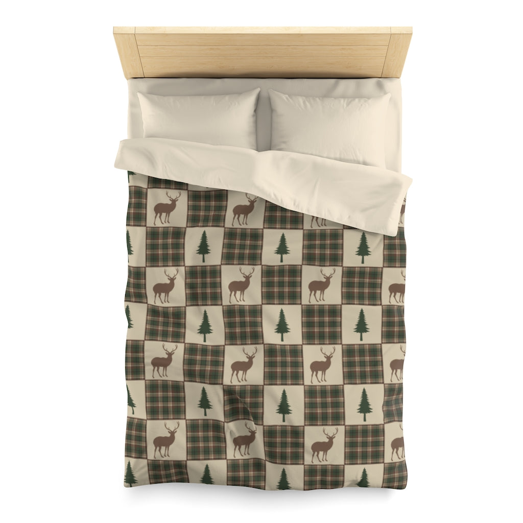 Twin Size Tan, Brown and Green Deer and Pine Trees Patchwork Plaid Pattern Microfiber Duvet Cover