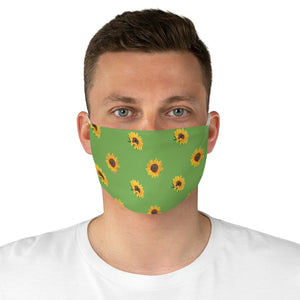 Green With Sunflower Pattern Printed Cloth Fabric Face Mask Farmhouse Country