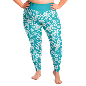 Turquoise and White Hawaiian Hibiscus Flower Pattern Plus Size Leggings 2X-6X Squatproof