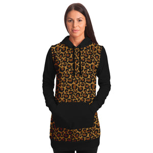 Leopard Print Longline Hoodie Dress With Contrast Black Sleeves, Pocket and Hood