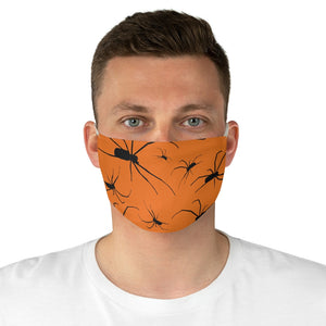 Orange With Spider Pattern Fabric Face Mask Printed Cloth Halloween Spiders Spooky