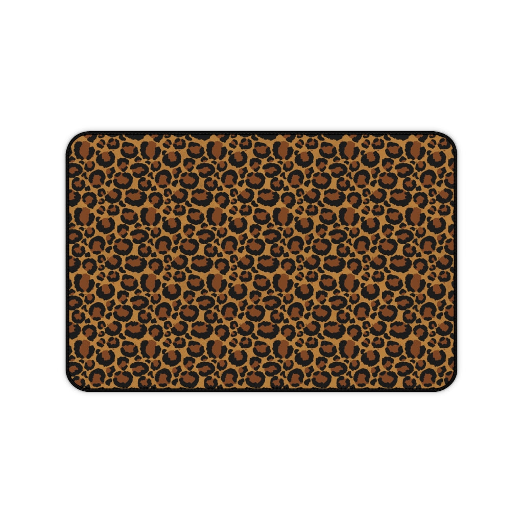 Leopard Animal Print Desk Mat Large Enough For a Laptop or Keyboard and Mouse