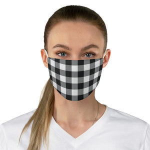 Black and White Buffalo Plaid Printed Cloth Fabric Face Mask Country Buffalo Check Farmhouse Pattern