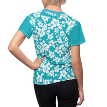 Load image into Gallery viewer, Teal and White Hibiscus Hawaiian Pattern Women's Tee